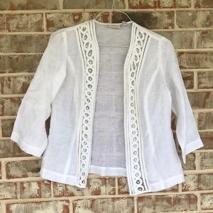 Chico's Delicate Lace Linen Lightweight Jacket